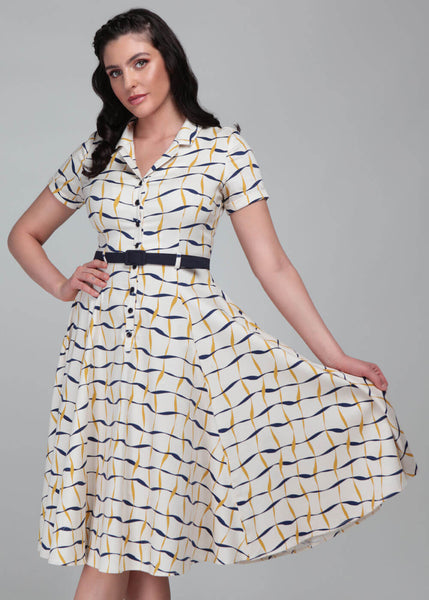 Collectif Caterina Ribbon Check 50's Swing Dress Ivory