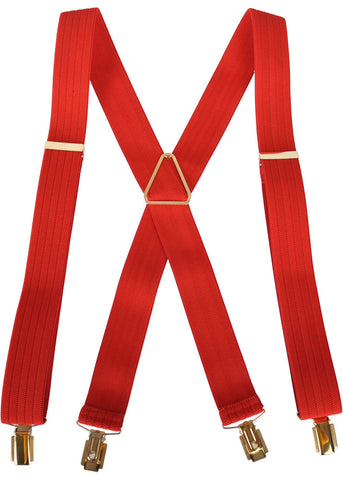 Hunt & Holditch Braces Herringbone With Golden Clips Red