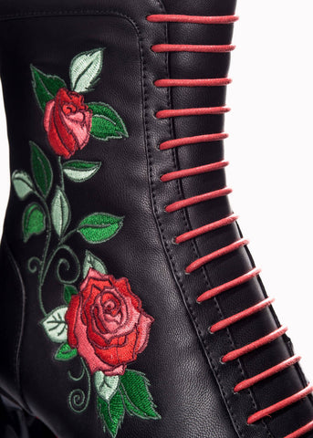 Banned Fantasy Rose Boots Black