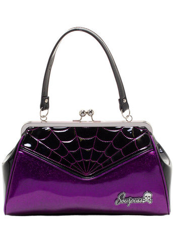 Sourpuss Spiderweb Backseat Baby Handbag Purple