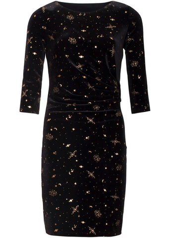 Smashed Lemon Stars Unite Velvet 60's Pencil Dress Black
