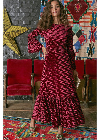 Onjenu Yana Abstract Velvet Maxi 70's Dress Bordeaux