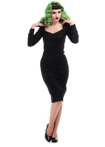 Collectif Helene 50's Pencil Dress Black