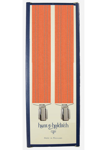 Hunt & Holditch Braces Pinstripe With Silver Clips Orange
