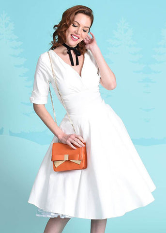 Unique Vintage Delores 50's Swing Dress Ivory