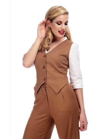 Collectif Annie 40's Gilet Camel Brown