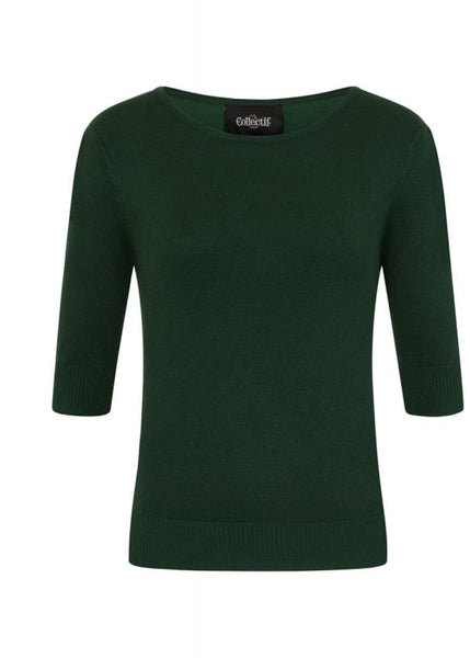 Collectif Chrissie Knitted 60's Plain Top Dark Green