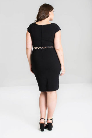 Hell Bunny Feline 50's Pencil Dress Black