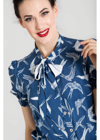 Hell Bunny Lilou 40's Blouse Blue