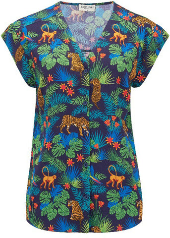 Sugarhill Boutique Coco Jungle Kimono 60's Shirt Navy Multi