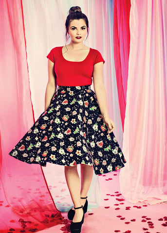 Hell Bunny Lovebird 50's Swing Skirt Black