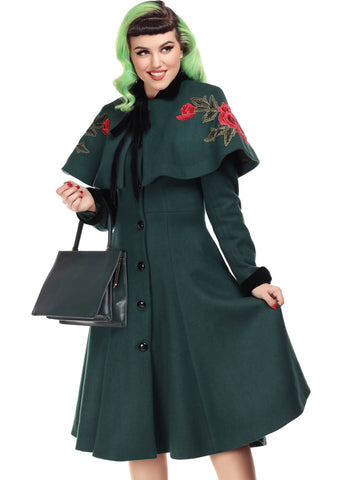 Collectif Claudia Rose 50's Coat with Cape Green