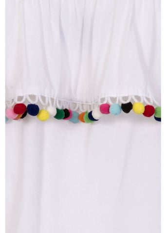 Collectif Ronda Pom Pom Top White