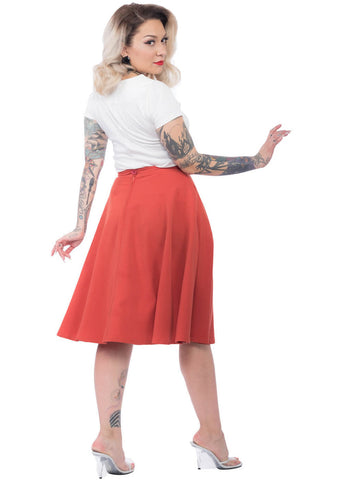Rock Steady High Waist Thrills 50's Swing Dress Rust