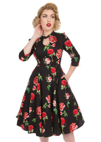 Hearts & Roses Classic Red Roses 50's Swing Dress Black