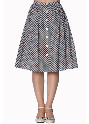 Banned Ditsy Daisy 50's Swing Skirt Navy