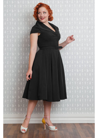 Miss Candyfloss Marta Roman Holiday 50's Swing Dress Black