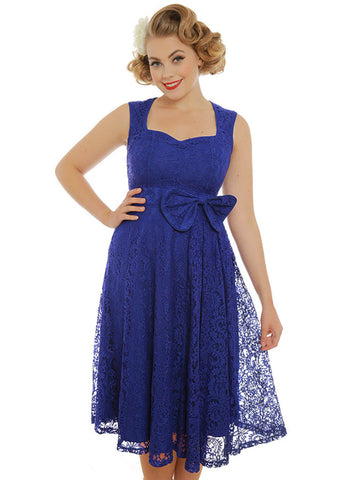 Lindy Bop Grace Lace 50's Swing Dress Royal Blue