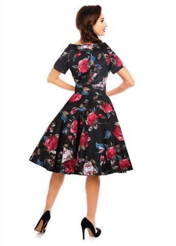 Dolly & Dotty Darlene Floral 50's Swing Dress Black