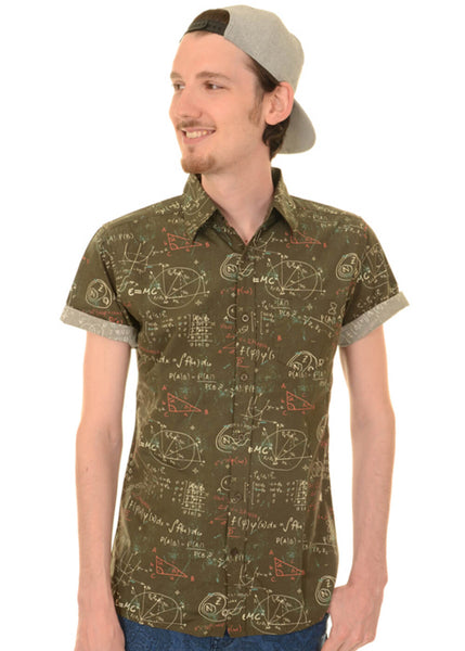 Run and Fly Mens Chalkboard 70's Shirt Grey