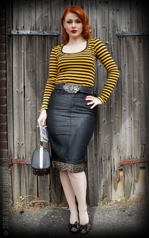 Rumble59 Perfect Denim Pencil Skirt Black