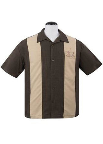 Rock Steady Mens The Mickey Tiki Shirt Coffee