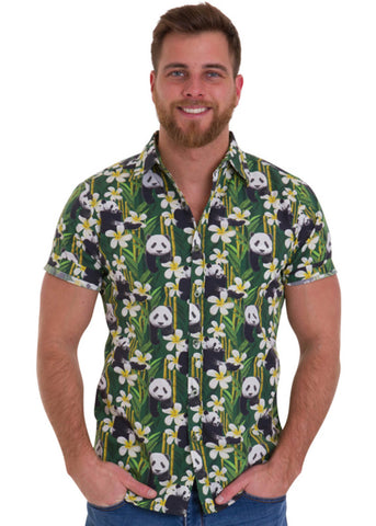 Run and Fly Mens Panda Shirt Green