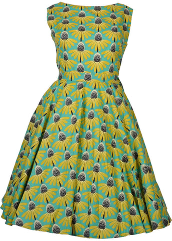Victory Parade Rosa Echinacea 50's Swing Dress Yellow Green