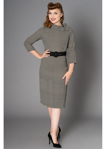 Sheen Lucinda Houndstooth 60's Pencil Dress Grey