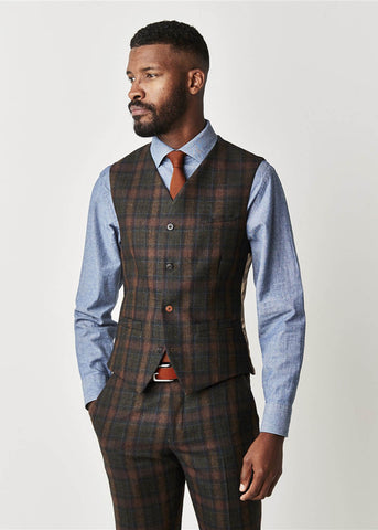 Gibson London William Tartan Waistcoat Sage Green