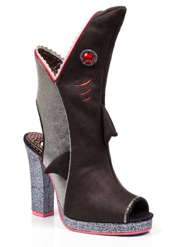 Irregular Choice Bite Me Shark Boots Black