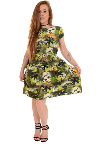 Run and Fly Dinosaur Jungle 50's Dress