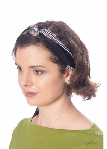 Banned Marice Houndstooth 60's Headband Black