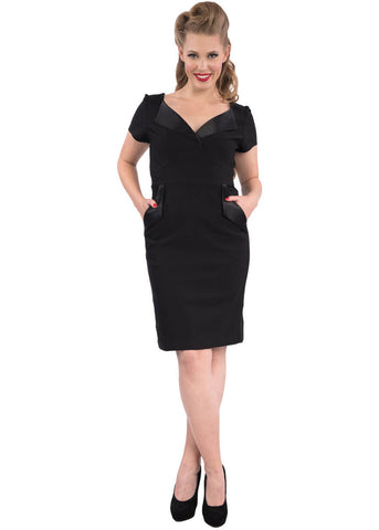 Rock Steady The Cat's Meow 60's Wiggle Dress Black
