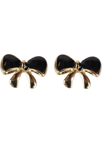 Succubus Bow Glossy Earrings Black