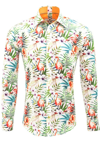 Claudio Lugli Mens Jungle Flamingos Shirt White