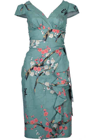 Victory Parade Oriental Blossom Waterfall 40's Dress Mint
