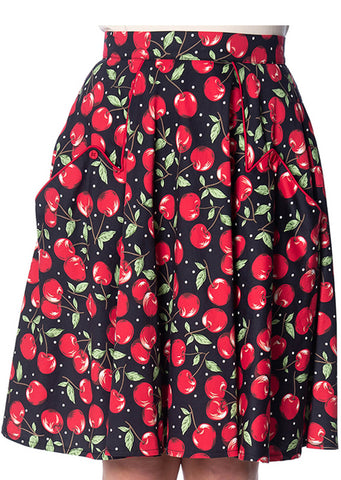 Banned Cherry Sode 50's Swing Skirt Black
