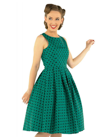 Dolly & Dotty Annie Polkadot 50's Swing Dress Green Black