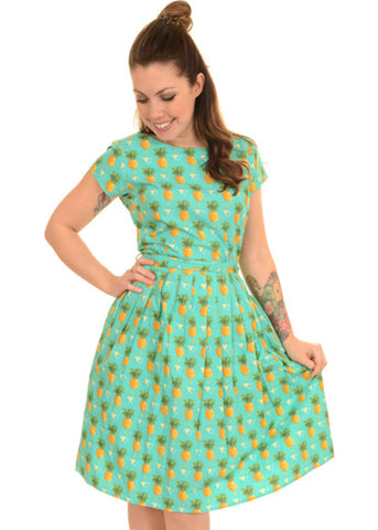 Run and Fly Pineapple 50's Dress Teal