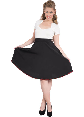 Steady Clothing Peggy Thrills 50's Swing Skirt Black