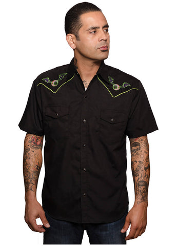 Rock Steady Mens Flying Eyeball Western Shirt Black