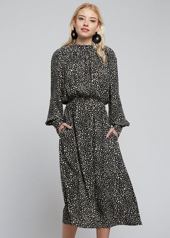 Louche Neima Animal 70's Midi Dress Black