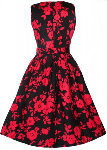 Dolly & Dotty Annie Red Flowers 50's Swing Dress