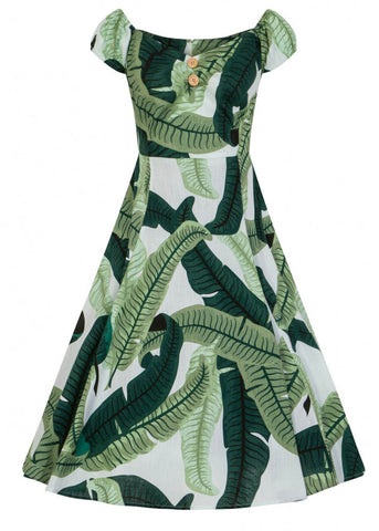 Collectif Dolores Banana Leaf 50's Swing Dress Green