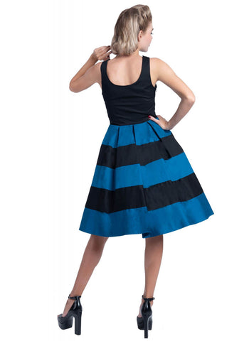 Dolly & Dotty Anna Striped 50's Swing Dress Black Blue