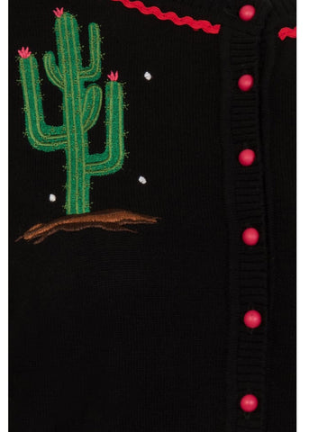 Collectif Lucy Cactus 50's Cardigan Black