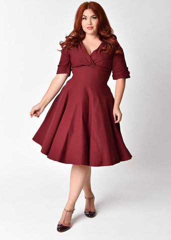 Unique Vintage 50's Delores Swing Dress Burgundy