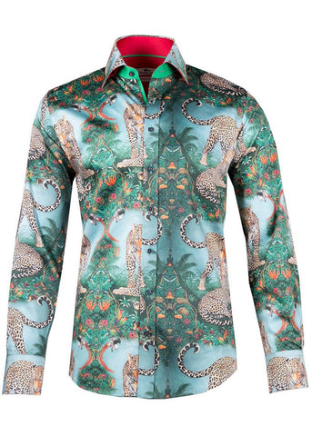 Claudio Lugli Mens Leopard Jungle Shirt Green