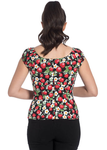 Hell Bunny Strawberry Sunday 50's Top Black